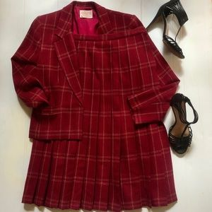 PENDLETON Woolen Mill Red Pleated Plaid Full Skirt